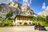 Bikers touring European Alps — Stock Photo
