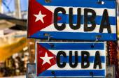 Red-blue-white Cuban flag on metal plates — Stock Photo