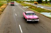 Classic American pink car — Stock Photo