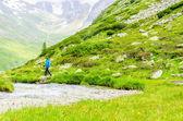 Young woman on a mountain trail, Alps, Austria — Stock Photo