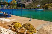 Fishermens nets drying on sun, Greece — Stock Photo
