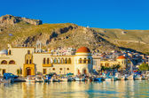Pothia port and townhall on Kalymnos island Greece — Stock Photo
