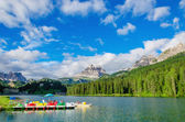 Colored pedalos on Lake Misurina, Dolomites, Italy — Stock Photo