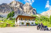 Bikers touring European Alps, Italy  — Stock Photo