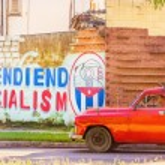 Classic American red car in Havana, Cuba — Stock Photo #73995095