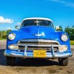 Classic American blue car in Havana, Cuba — Stock Photo #73995571