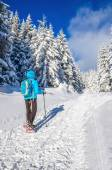 Young woman in dawn jacket with backpack, winter — Stock Photo