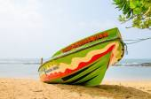 Colourful boat on background of the endless sea — Foto de Stock