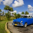 Classic American blue car in Havana, Cuba — Stock Photo #74184613