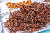 Fired locusts and worms on food market — Stock Photo