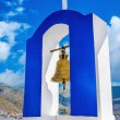 Blue and white Greek church bell tower, Greece — Stock Photo #75684977