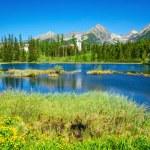 Beautiful mountain lake and high mountains peaks — Stock Photo #77582250