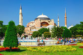 Hagia Sophia, flower garden in Istanbul, Turkey — Stock Photo