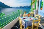 Romantic terrace in cozy Greek restaurant — Stock Photo