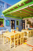 Typical Greek restaurant on fresh air, Greece — Stock Photo
