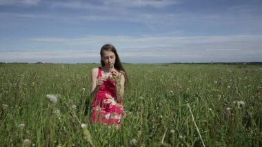 Teen girl making a wreath on the meadow — Stock Video