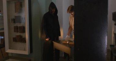 Monk in Black, Man is Near The Monk, Monk is Straightening the Clothes, Printing Equipment, History of Printing, Museum, Kievo-Pecherska Lavra — Stock Video