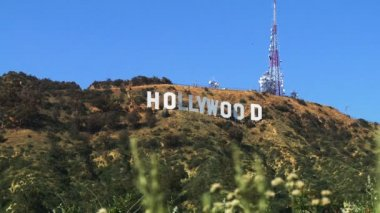 Beroemde hollywood sign — Stockvideo