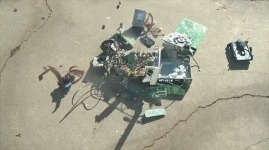 Computer components  drops onto concrete — Stock Video