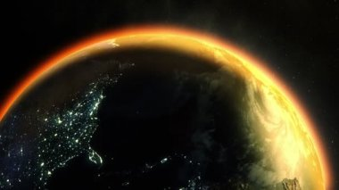 Earth  warmed by sun in outer space — Stock Video
