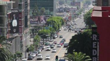 ハリウッド大通りに向かってのツルの通り — ストックビデオ