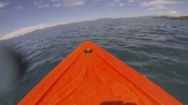 Kayak rowing through lake — Stock Video