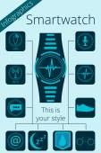 Smartwatch. Fitness tracker.  Activity tracker. Vector promotion infographic. Key features are shown as icons. — Stock Vector