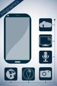 智能手机。矢量促进信息图表。主要功能如下所示的图标. — 图库矢量图片
