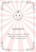 The card with a fun face of baby girl — Stock Vector