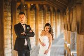 À pied vient de se marier sur le fond de l'ancien château — Photo