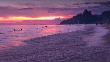 Ipanema Beach Rio de Janeiro Brazil Sunset — Stock Video