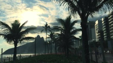 Ipanema Beach Scenic Sunset Skyline — Stock Video