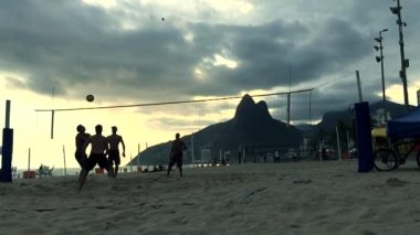 Slow Motion Beach Volleyball Ipanema Beach Brazil — Stock Video