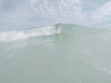 Brazilian Surfer Riding Wave Ipanema Beach — Stock Video