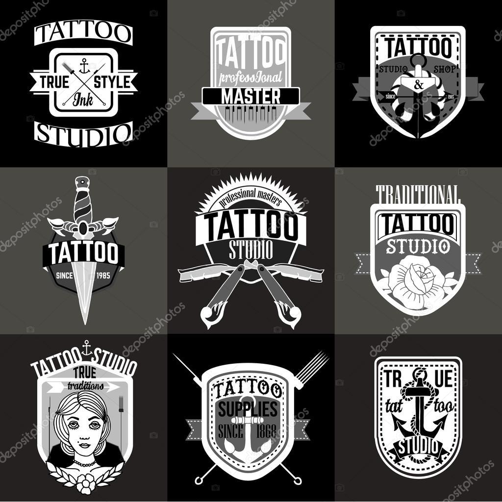 自制纹身标志和徽章矢量集