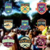 Pop art gun shop logotypes and badges vector set — Stock Vector