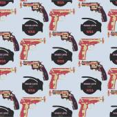 Hand drawn pop art  seamles pattern with colorfull guns — Stock Photo