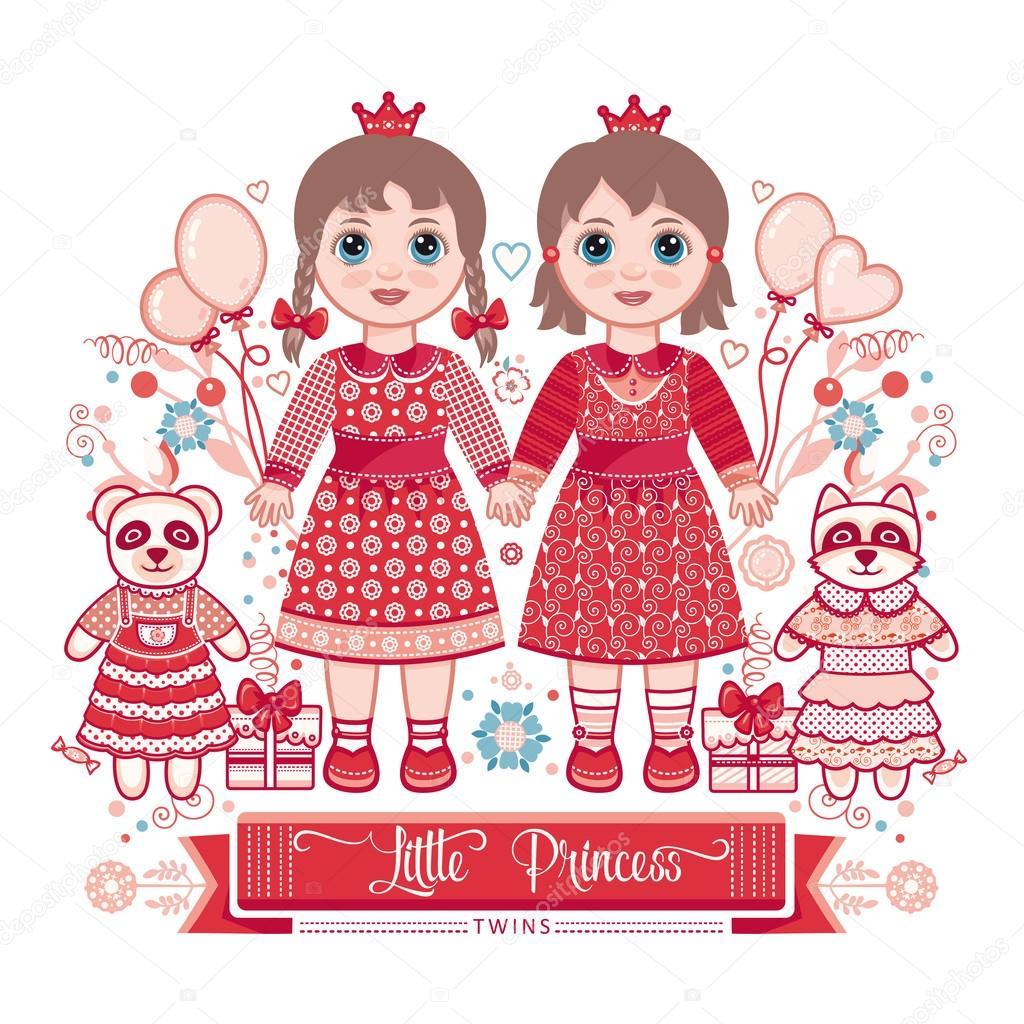 Открытка близняшкам на день рождения 34
