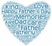 Tag cloud of father's day in the shape of blue heart — Stock Photo