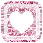 Tag cloud of father's day in heart shape in a box — Stock Photo