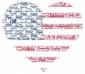 Tag cloud of 4th of july in the shape of flag in the heart — Stock Photo