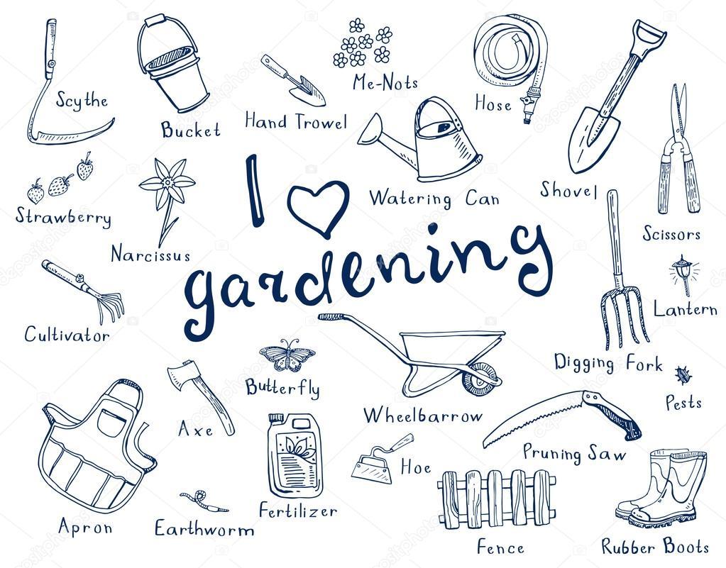 Outils de jardinage avec des noms image vectorielle for Les meilleurs sites de jardinage
