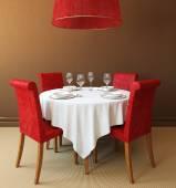 Ronde tafel en vier rode stoelen — Stockfoto