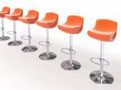 Stylish orange cafeteria chairs — Stock Photo