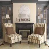 Şömineli modern oturma odası. — Stok fotoğraf