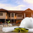 Business Growing  file of safety helmet and architect plant — Stock Photo #77984236