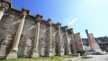 Hadrian's Library in Acropolis Athens Greece — Stock Video