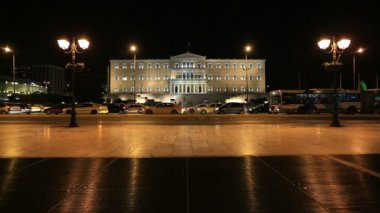 Parliament Building Capital Cities Athens at Night — Stock Video