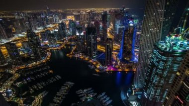 Time lapse aerial view Sheikh Zayed Road with Dubai Marina — Video Stock