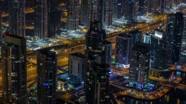 Time lapse aerial view Sheikh Zayed Road with Dubai Marina — Stock Video